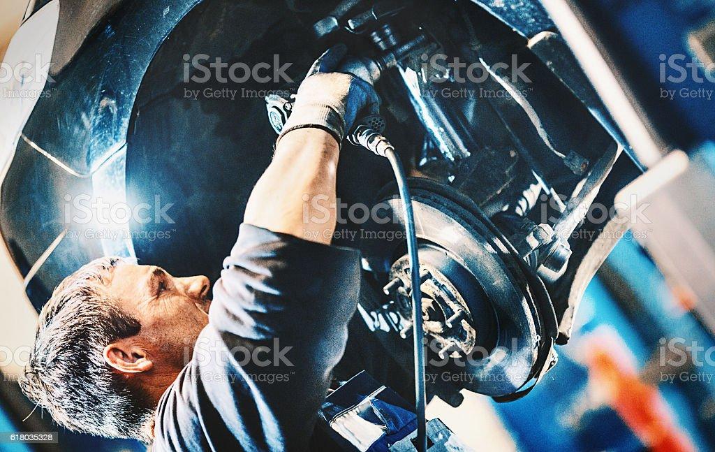 Car braking system repair. stock photo