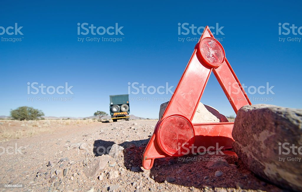 Car breakdown in the desert stock photo