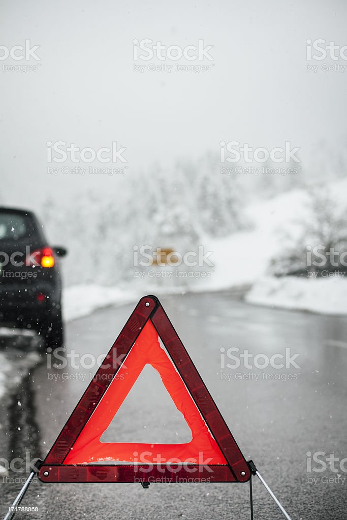 Car breakdown on snowy road royalty-free stock photo