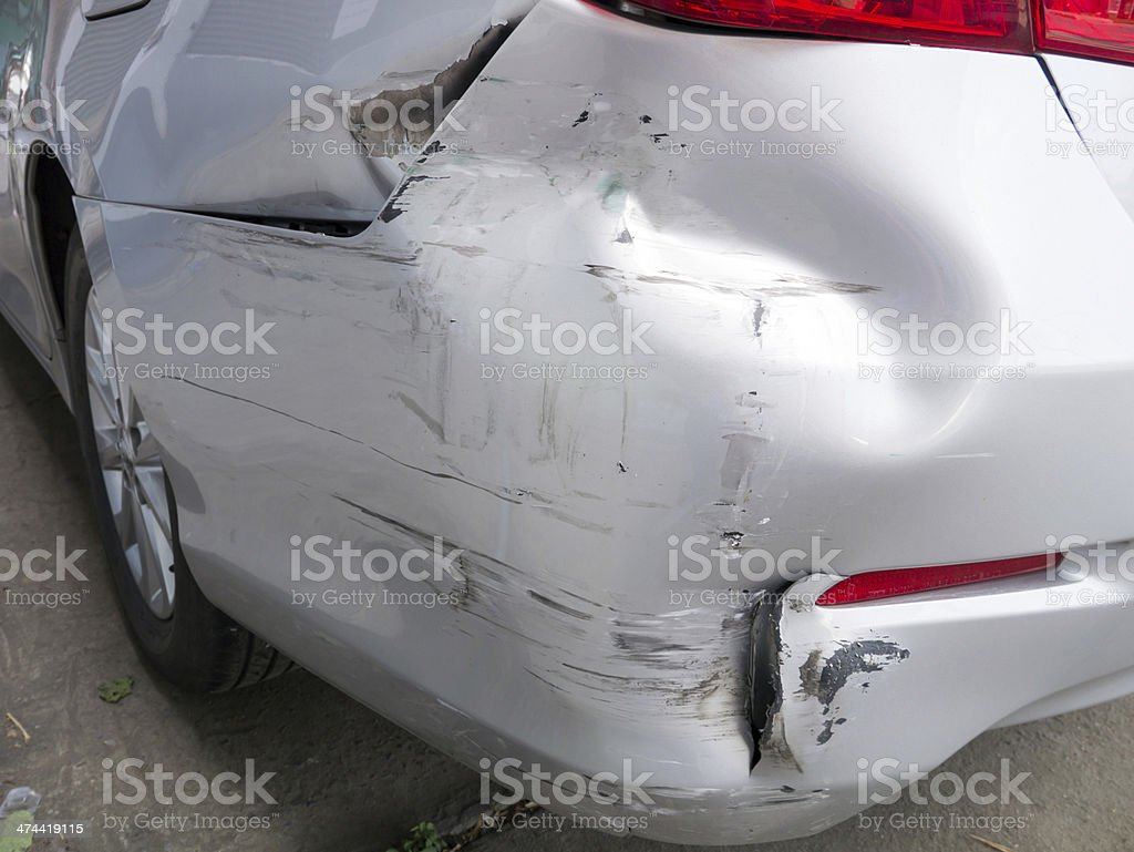 car bumper damage stock photo