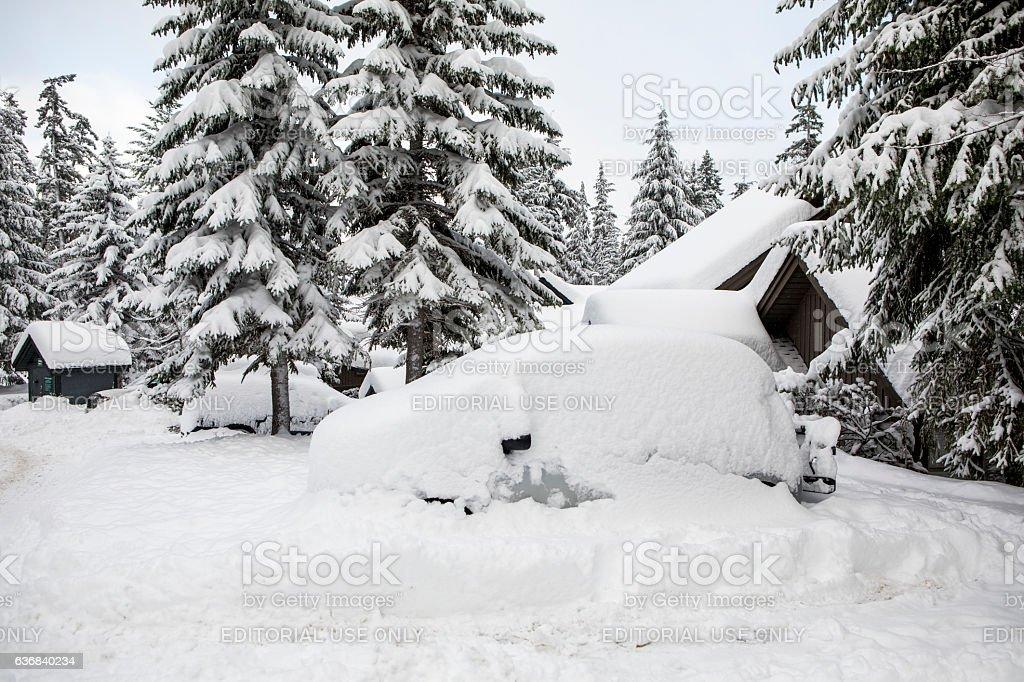 Car buried under snow. stock photo