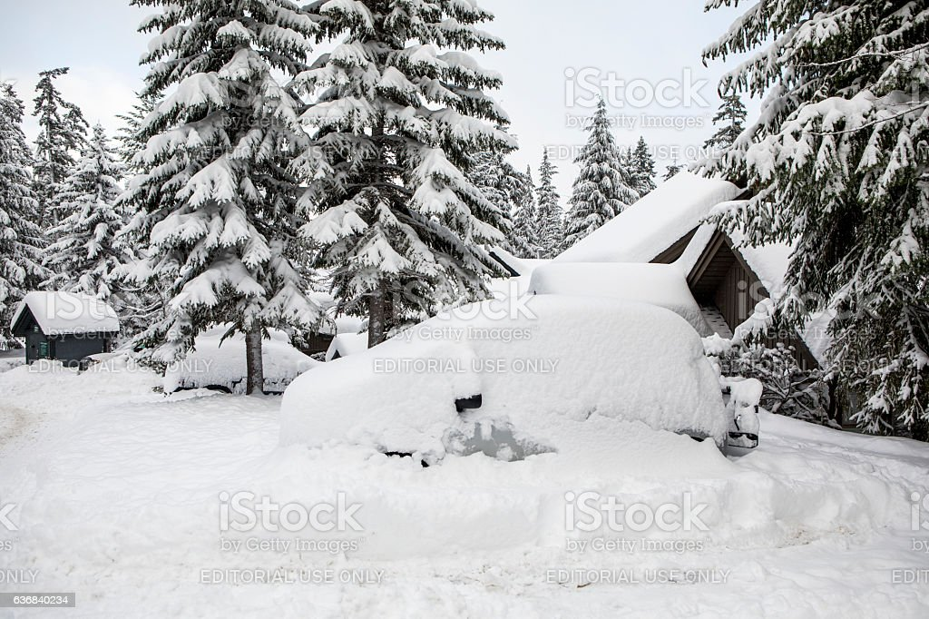 Car buried under snow. stock photo