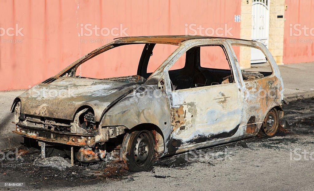 car burned stock photo