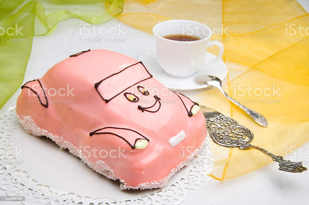 car cake with a cup of coffee royalty-free stock photo