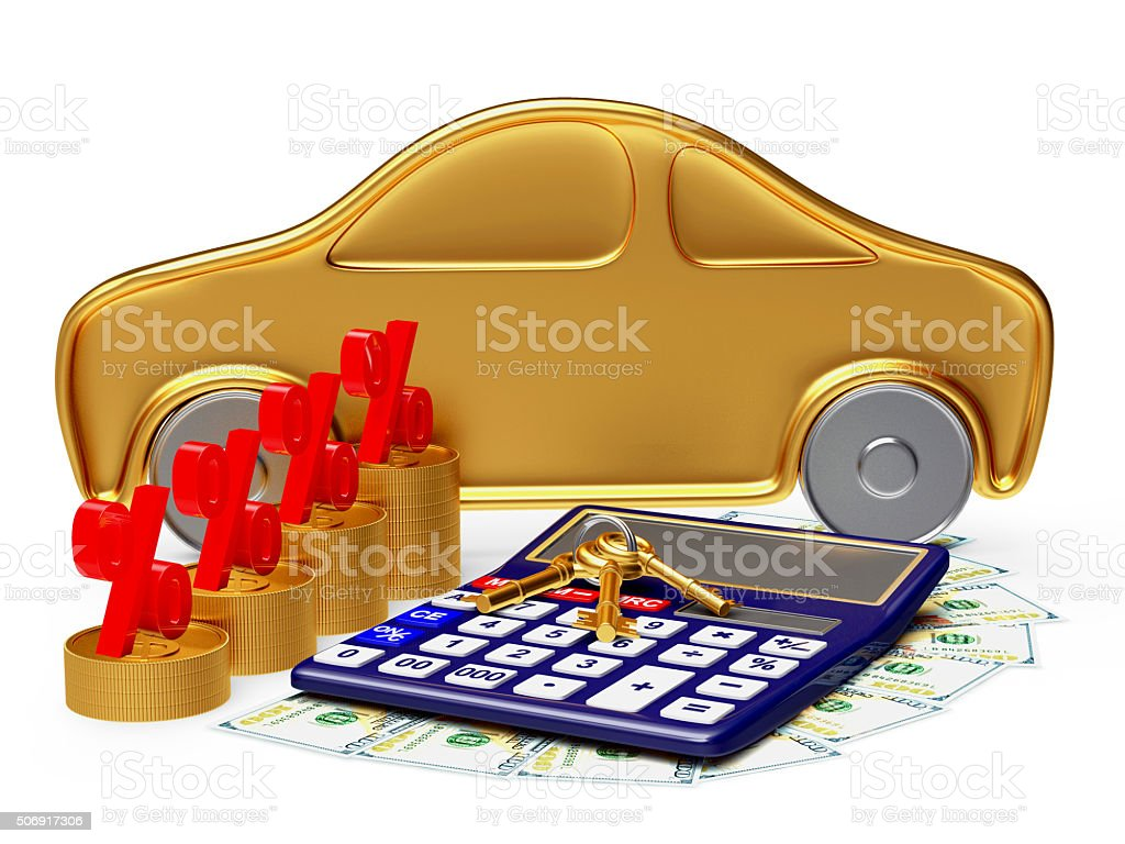 Car, calculator and money with percent sign stock photo