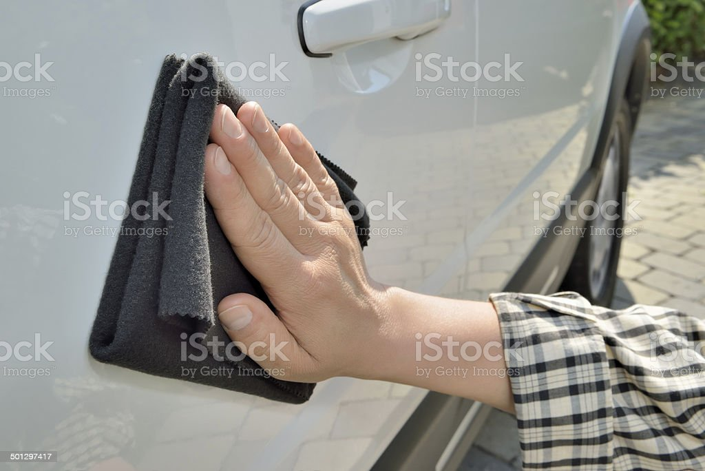 Car care - Washing a car by hand stock photo