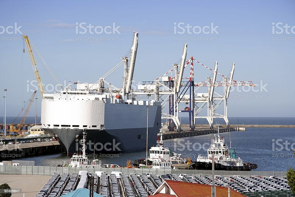 Car Carrier in Harbor stock photo