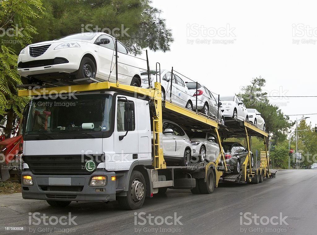 Car carrier stock photo