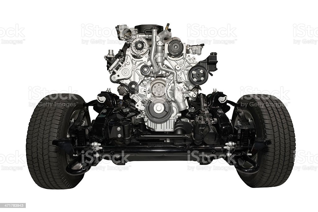 Car chassis with engine royalty-free stock photo
