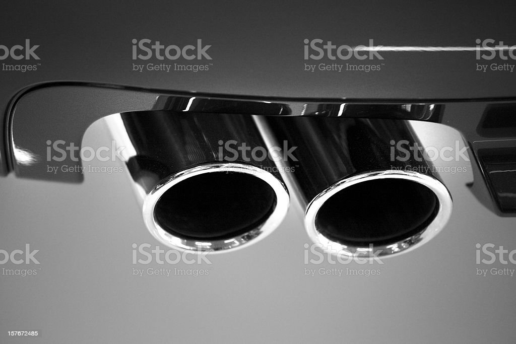 car chrome exhaust pipe close up royalty-free stock photo