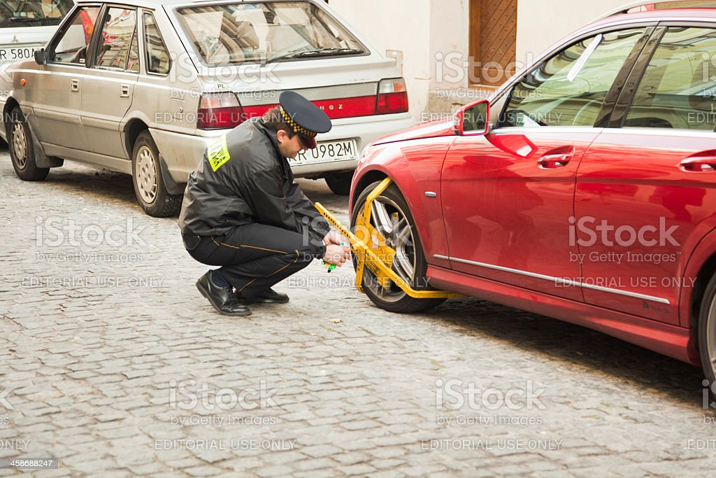Car clamping stock photo