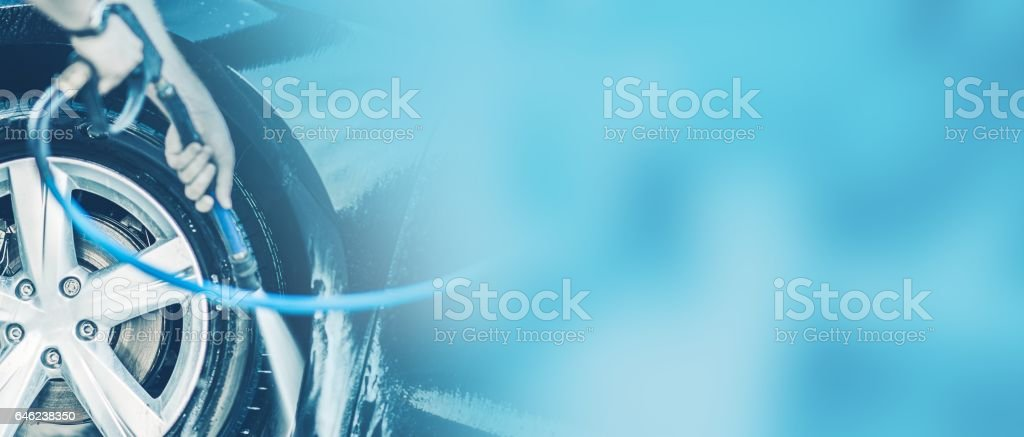Car Cleaning Auto Washing. Blue Car Wash Banner Background.