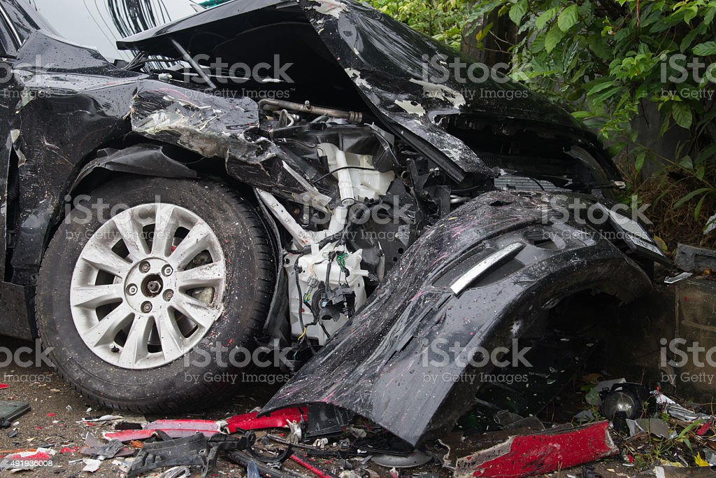 Car collision accident crash barrier fence stock photo