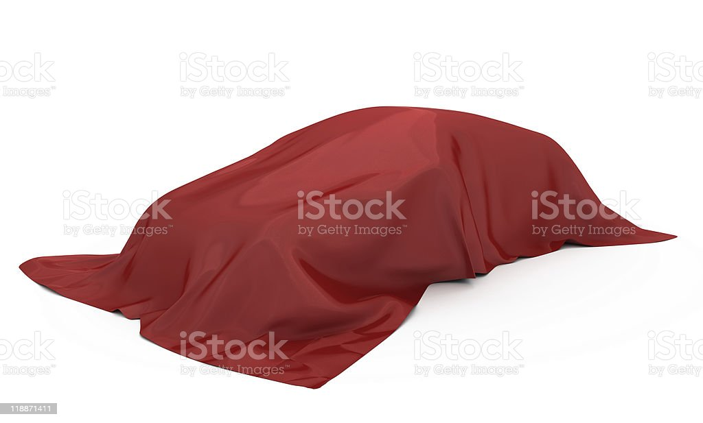 Car covered red fabric. stock photo