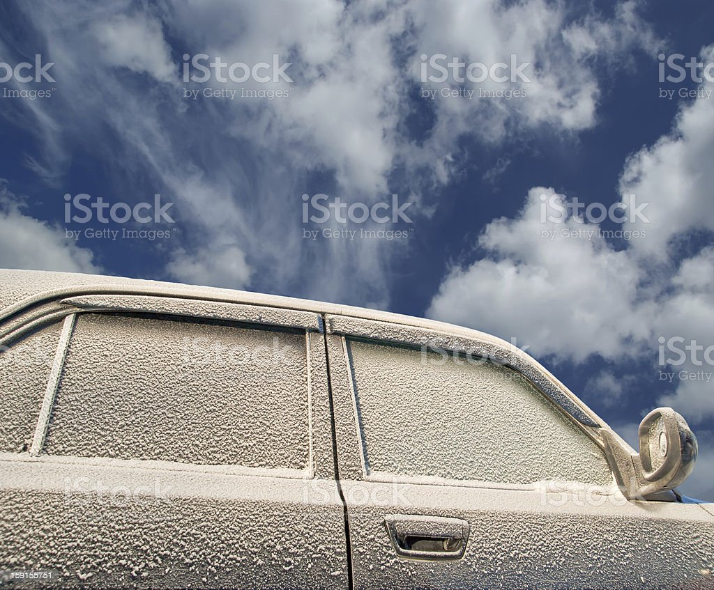 Car covered with frost. Winter, cold day. royalty-free stock photo