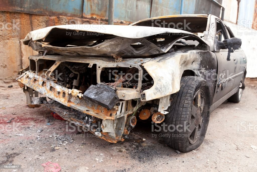 Car crash, burnt-out wreck royalty-free stock photo