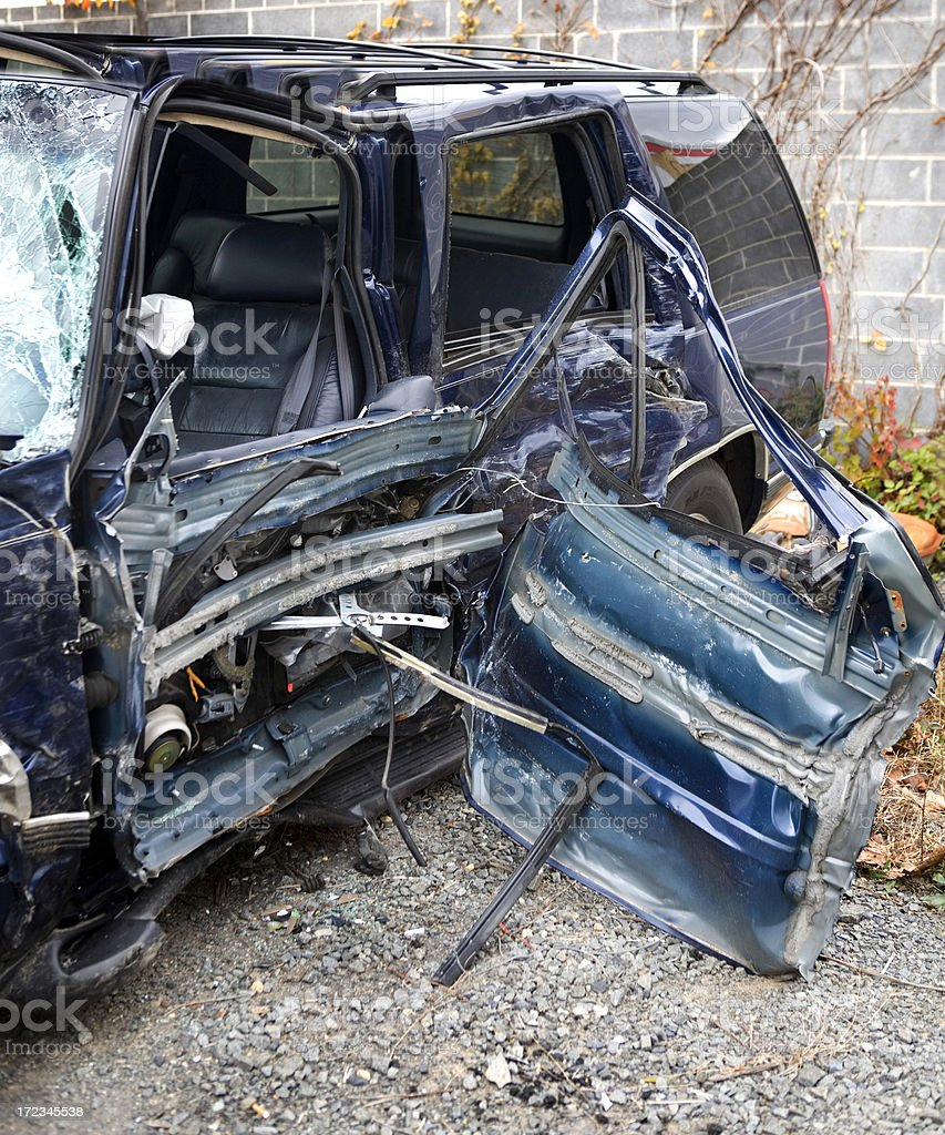 Car Crash by Drunk Driving Totalled stock photo