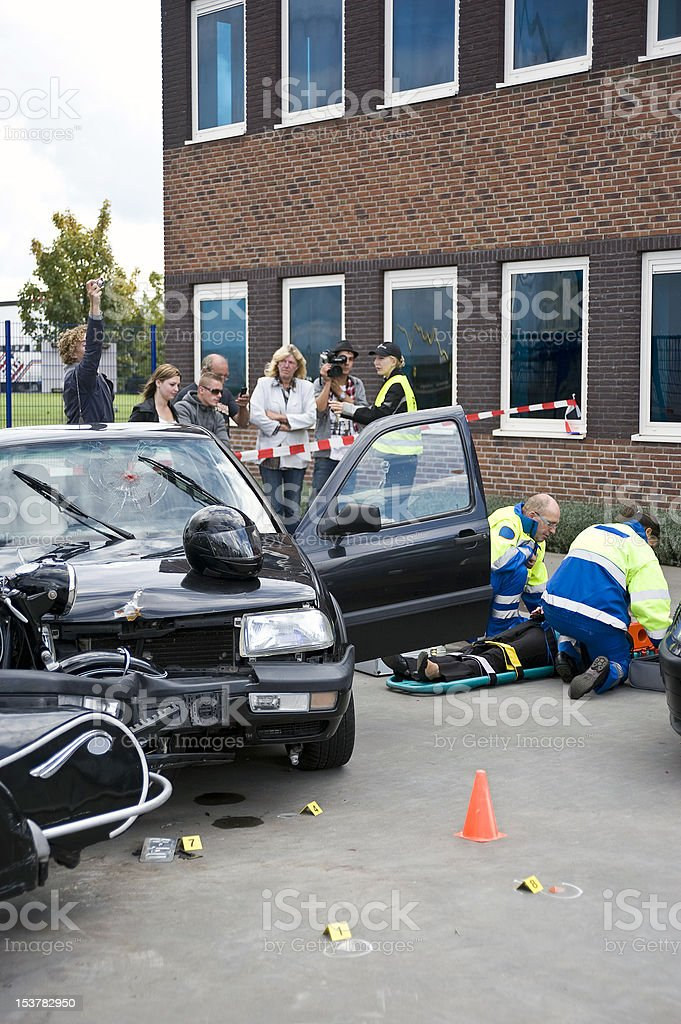 Car Crash Bystanders royalty-free stock photo