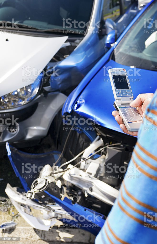 Car crash cellphone royalty-free stock photo