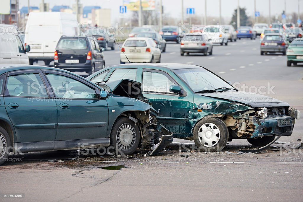 car crash collision in urban street royalty-free stock photo
