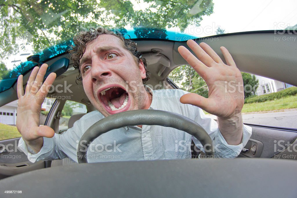 Car Crash Facial Expression stock photo