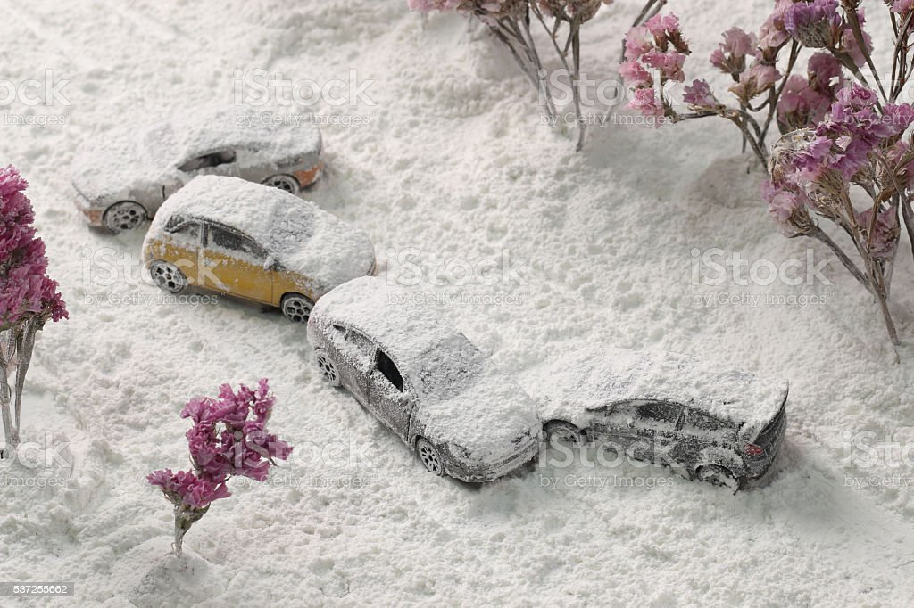 Car Crash reclaimed from the air with heavy snow. stock photo