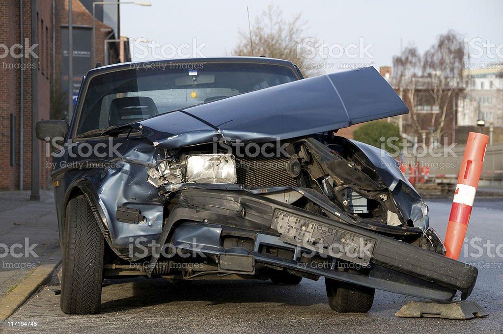 Car crash smashes front of a vehicle stock photo