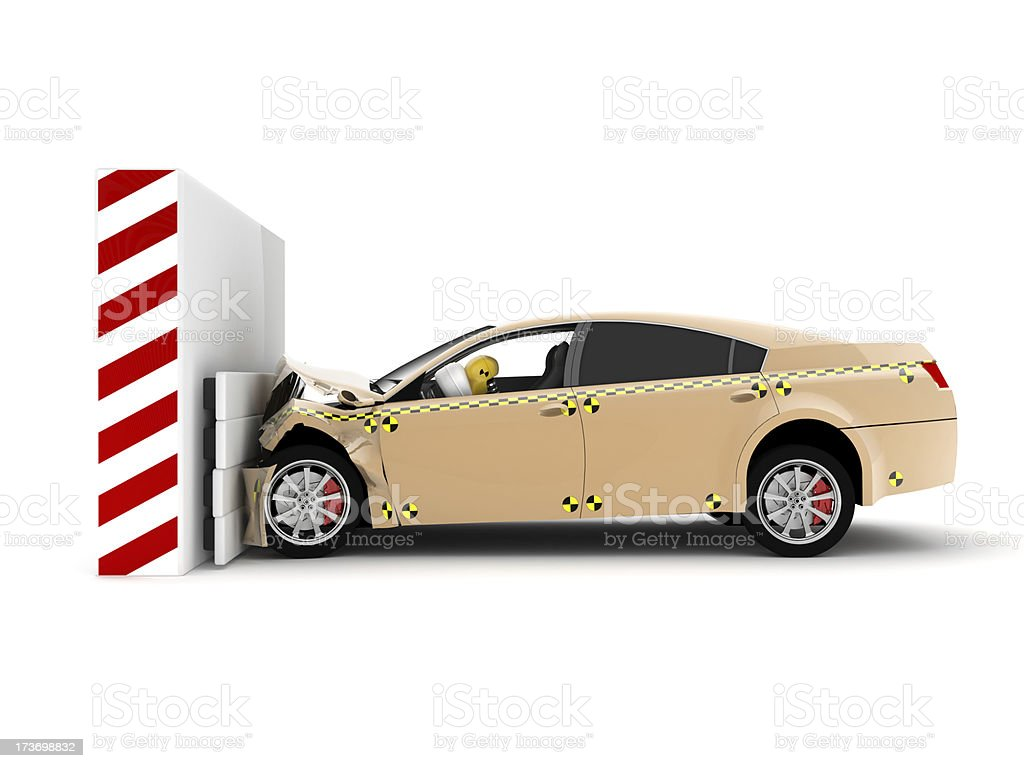 A car crash test running into wall stock photo