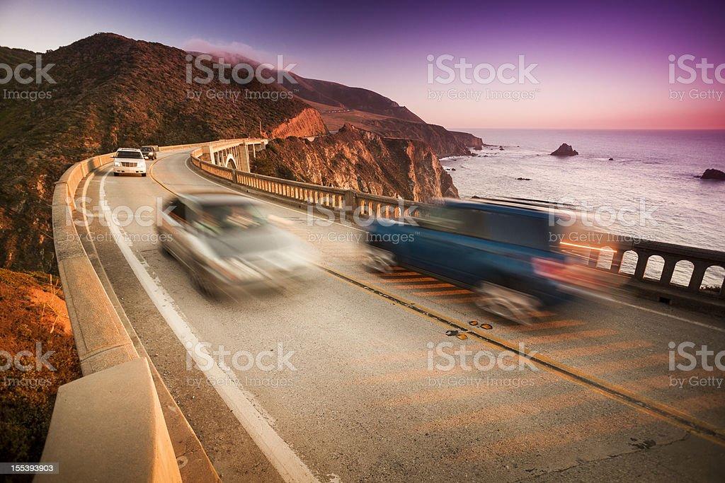 Car crossing the Bixby Bridge, Big Sur, California, USA royalty-free stock photo