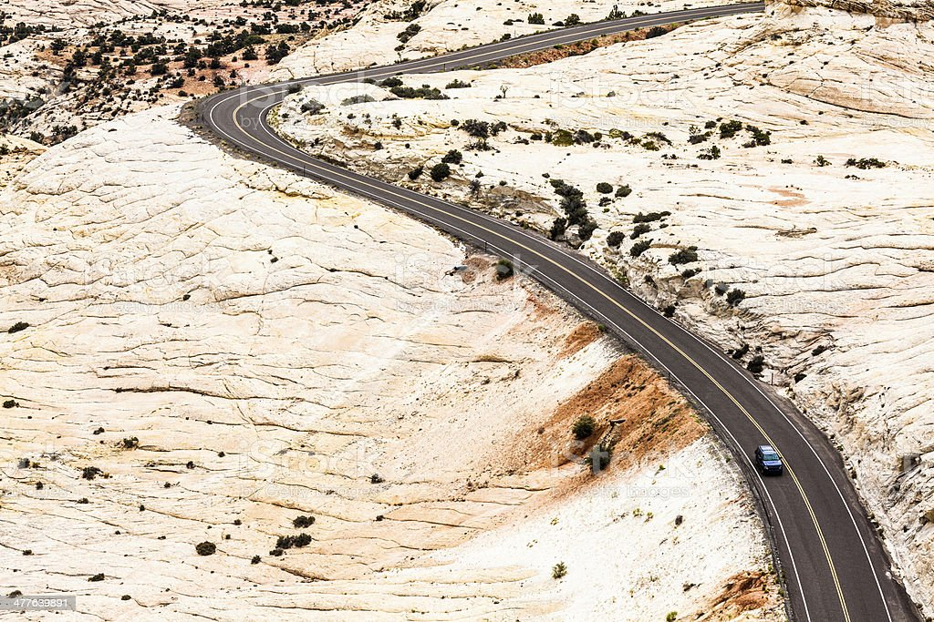 Car Crossing the Desert, Route 550, The million dollar Highway stock photo