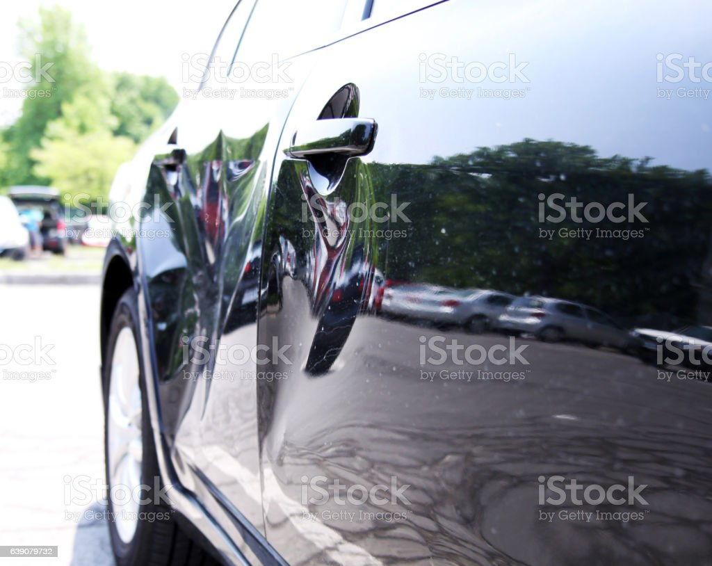 Car damaged in a collision stock photo