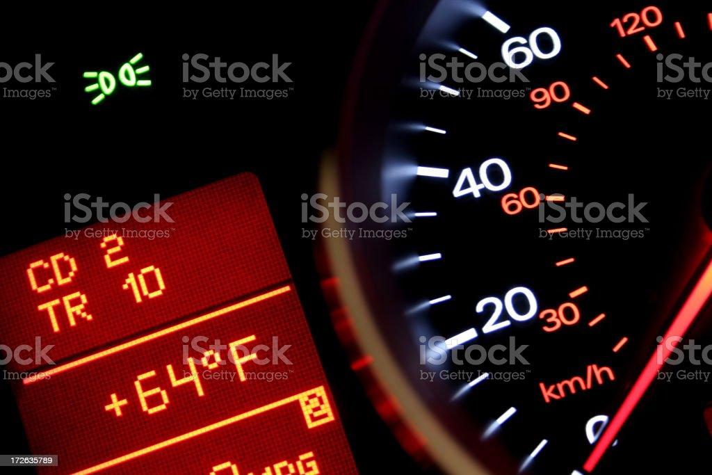 Car dash board control panel with speedo stock photo