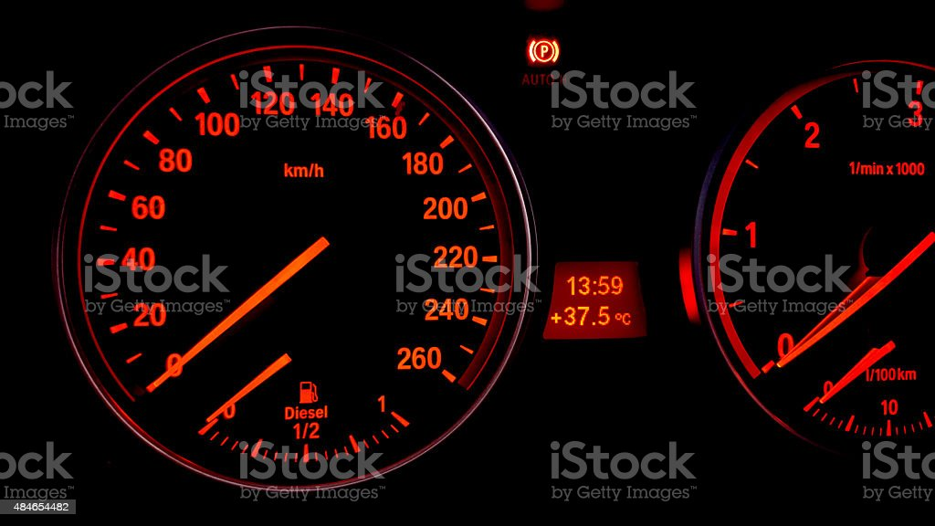 Car Dashboard Close-Up stock photo