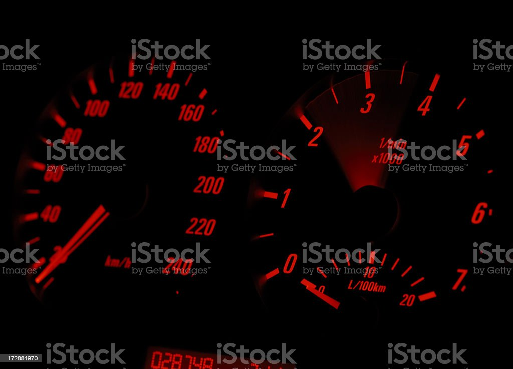 Car Dashboard - Engine Revving stock photo