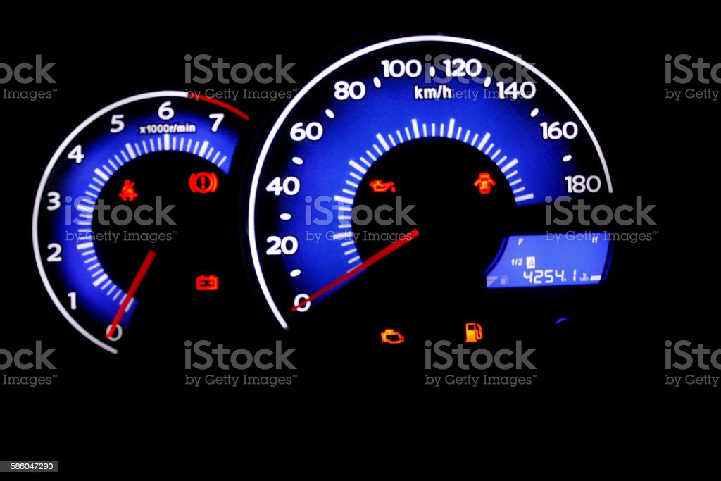 Car dashboard with blue light stock photo