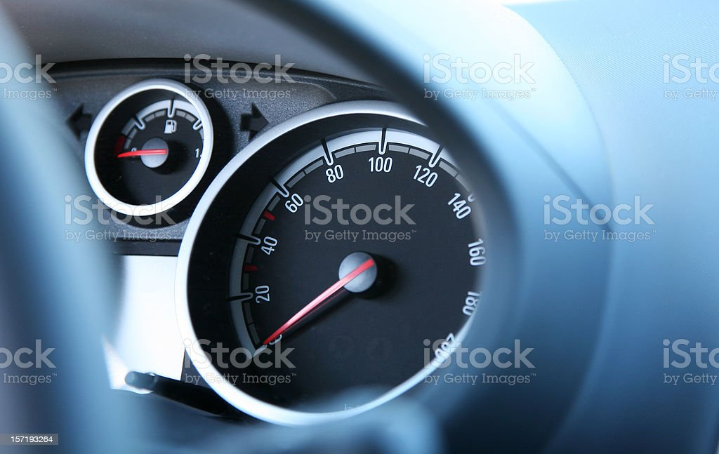 Car dashboard with speedometer and gas royalty-free stock photo