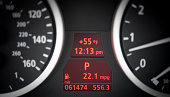 Car dashboard with tachometer, speedometer and gasoline gauges