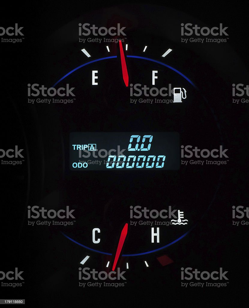 Car dashboard zero meter royalty-free stock photo