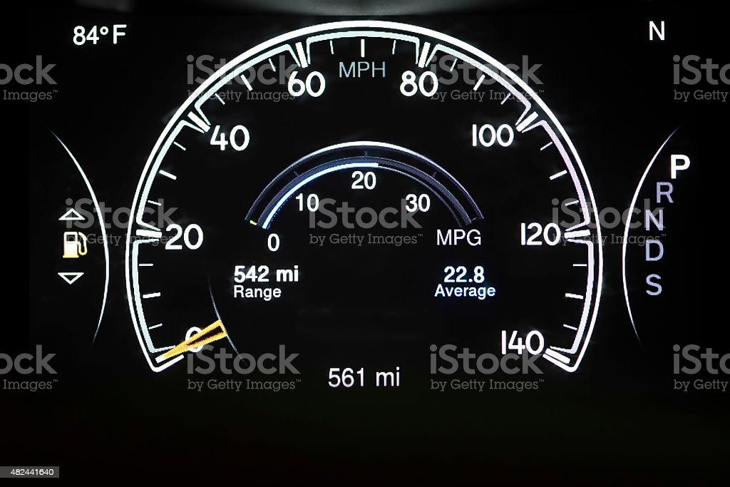 Car Dashboard/Speedometer stock photo