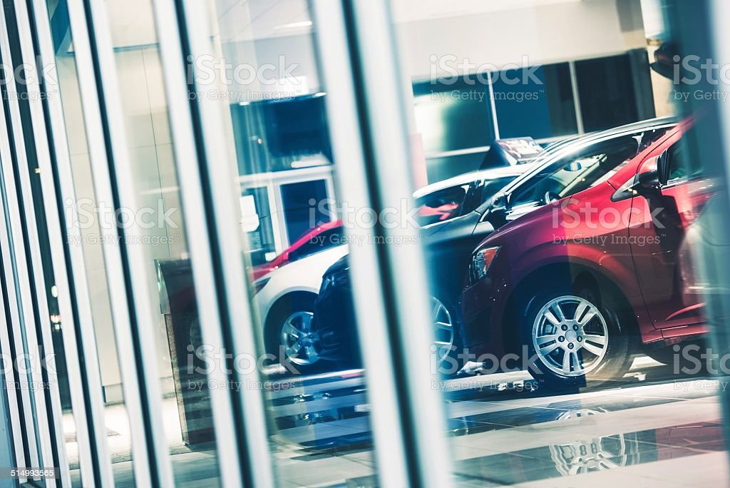 Car Dealer Window Shopping stock photo