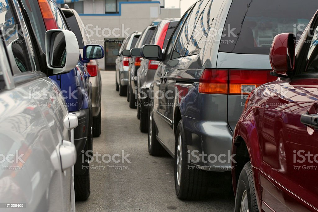 Car dealership rear view stock photo
