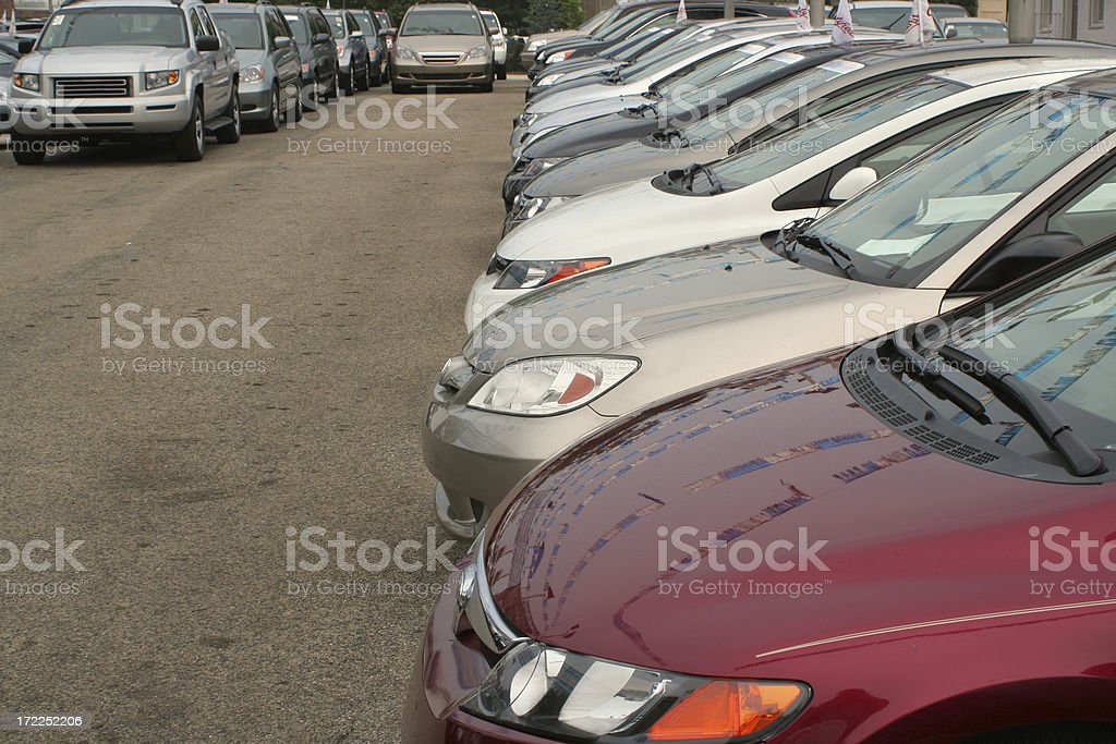 Car dealership side view royalty-free stock photo