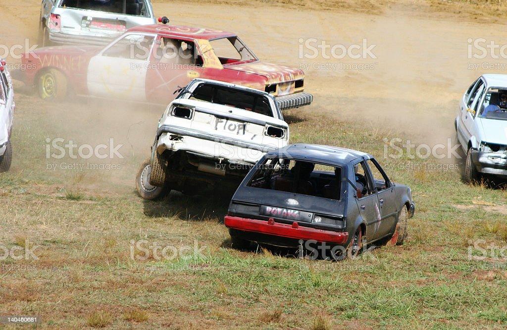 Car demolition derby stock photo