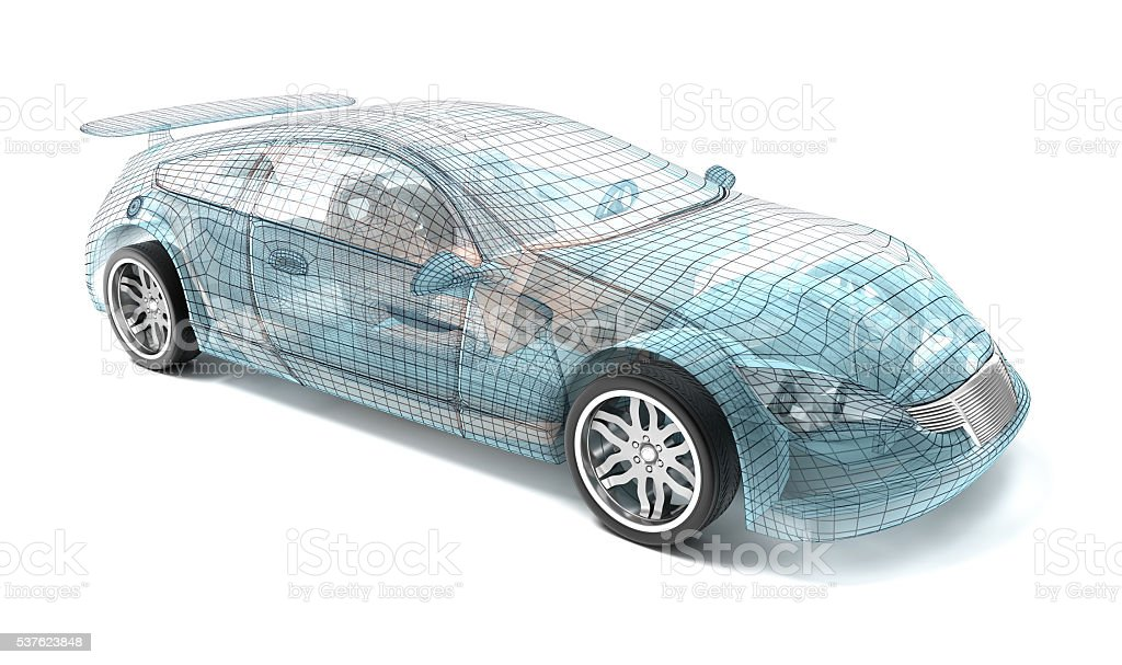 Car design, wire model. My own design. stock photo