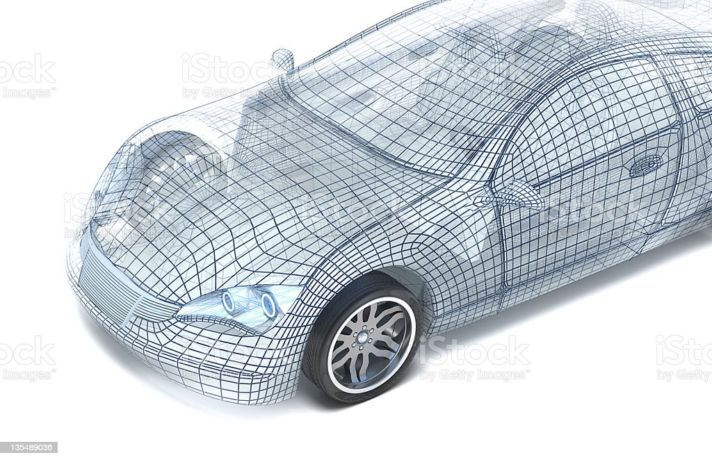 Car design, wire model royalty-free stock photo