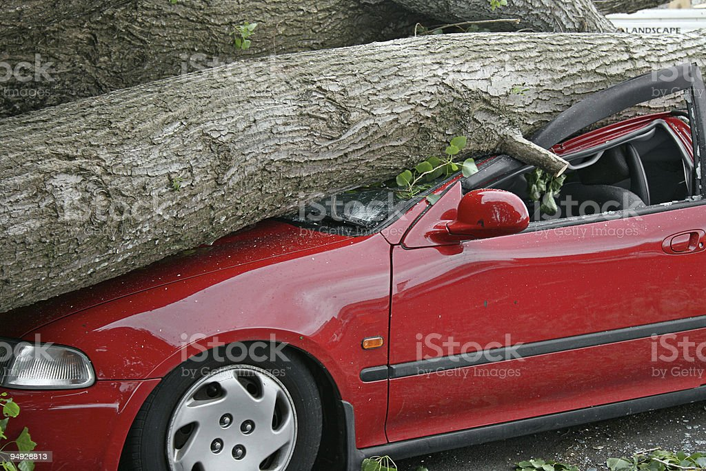 Car destroyed stock photo