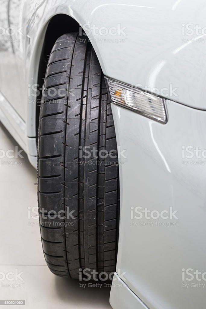 Car detailing series : Clean car tire stock photo