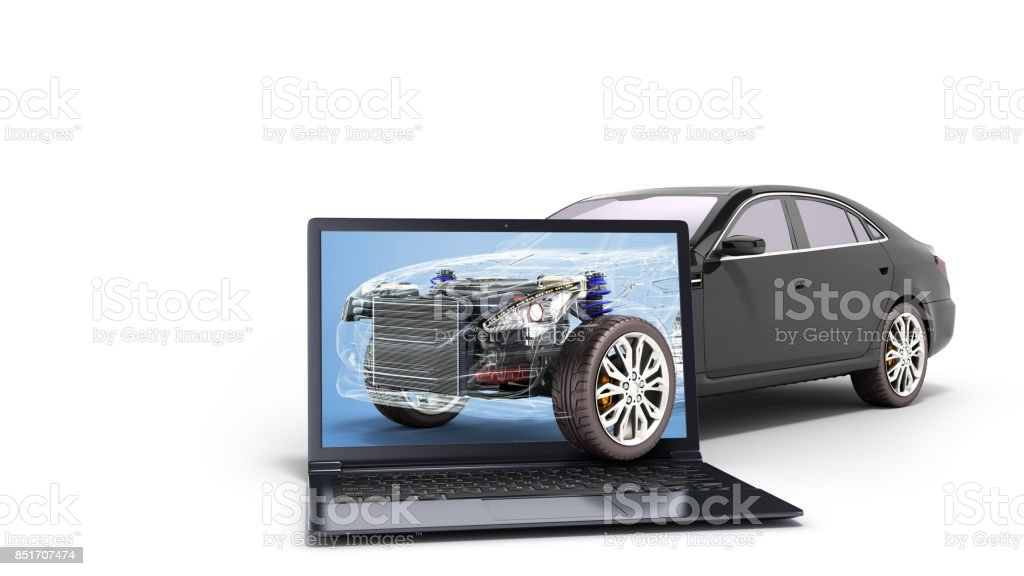 car diagnostic concept black car studio view 3d render image stock photo
