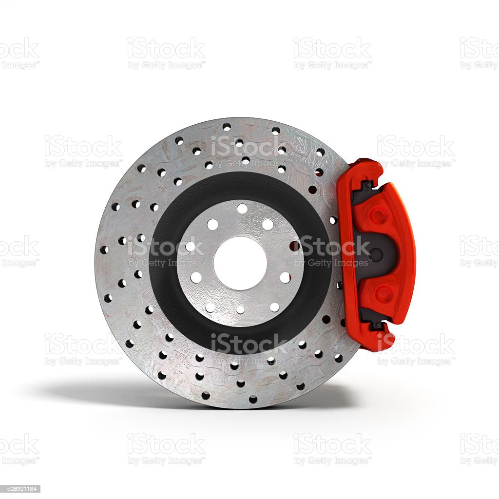 car disc brake isolated on white background 3d illustration stock photo