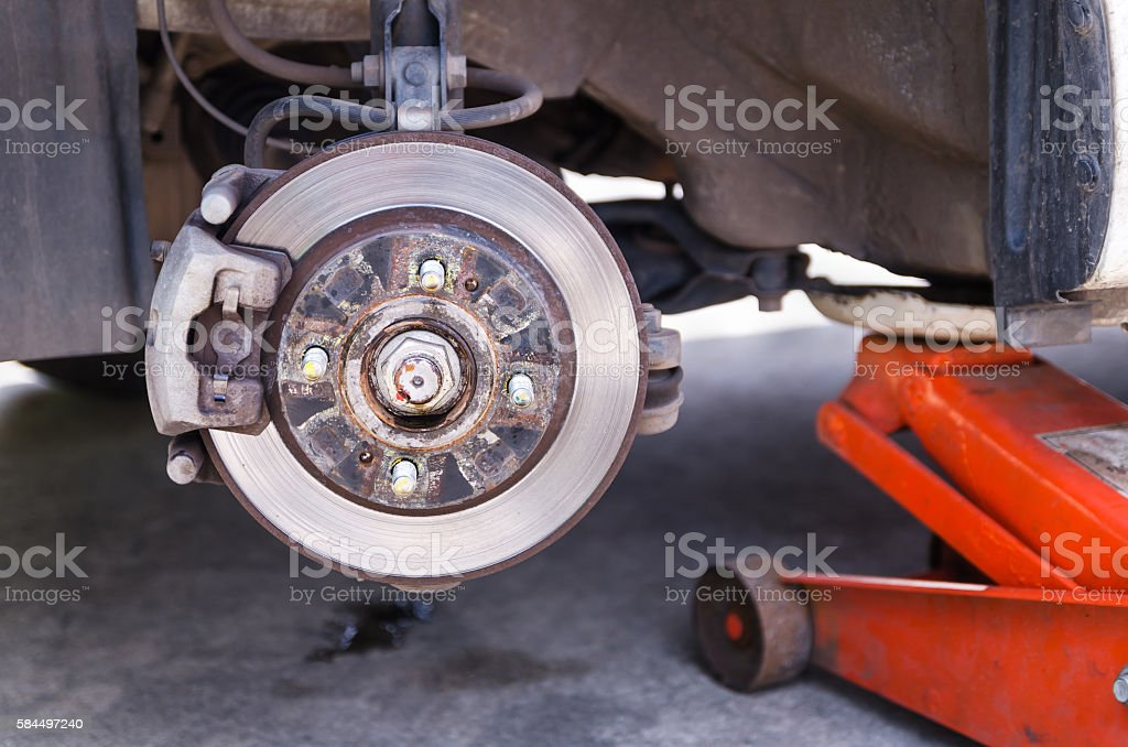 Car disk break after wheel removed stock photo